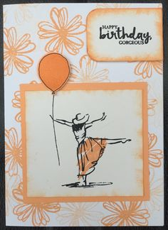 Handmade card using Stampin' Up! Products. Beautiful you stamp set & balloon celebration stamp set & balloon punch. Peekaboo peach ink x