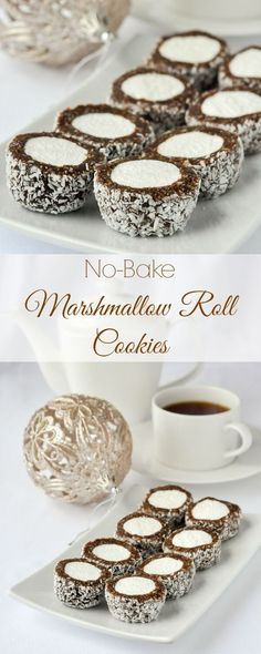 Marshmallow Roll Cookies - easy, no-bake and freezer friendly! Marshmallow Roll Cookies - easy, no-bake & freezer friendly! These cookie confections will be popular with all ages, especially around the Christmas season. Rock Recipes, Candy Recipes, Baking Recipes, Cookie Recipes, Baking Ideas, Oven Recipes, Meat Recipes, Recipies, Xmas Cookies
