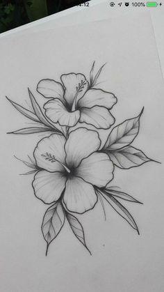 Easy Flower Drawings, Pencil Drawings Of Flowers, Flower Sketches, Pencil Art Drawings, Cool Art Drawings, Art Drawings Sketches, Drawing Ideas, Drawing Poses, Disney Drawings