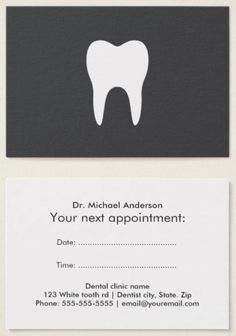 Modern, simple yet elegant dentist appointment cards featuring a white tooth silhouette on a dark gray background. You can also upload your own logo. Customizable text on the back. Template fields for dentist name, time and date for appointment, and contact information.