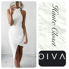 Asymetrical Dress Gorge asymetrical dress in white. Sleeveless with high neck closure. New Arrival; coming soon. Like or comment to be notified upon arrival. Dresses High Low