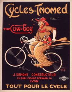 11x14 Vintage French Advertisements Cyles Tnomed Bicycles Cowboy. Art Nouveau - 051. $12.00, via Etsy.