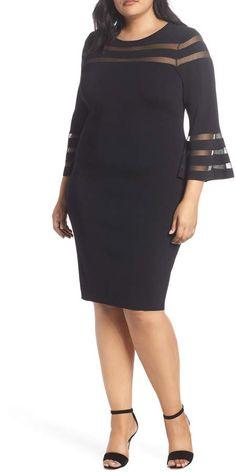 e98bf5e952 Eliza J Mesh Stripe Sheath Dress Work Dresses For Women