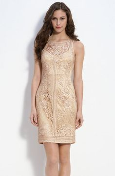Sue Wong Illusion Bodice Lace Sheath Dress | Womens Top & Womens-clothing