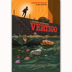 Vertigo is an American film noir psychological thriller film directed and produced by Alfred Hitchcock. Old Movie Posters, Classic Movie Posters, Horror Movie Posters, Cinema Posters, Movie Poster Art, Classic Films, Horror Movies, Art Posters, Vintage Movies
