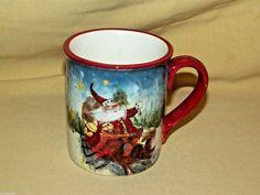 Santa Mug Reindeer Susan Wingets Coffee Tea Cup Christmas Certified Intl Used #CertifiedInternational