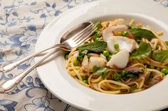 Linguine with Cod, Fresh Peas, and Spring Herbs- loved this one!