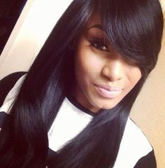 quick weave styles with bangs