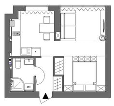 Small Apartment Plans, Small Apartment Layout, Small Apartment Interior, Apartment Design, Interior Design Living Room, Small Floor Plans, Small House Plans, House Floor Plans, Compact House