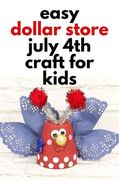 Quick 30 minute July 4th decoration idea for kids. Dollar tree July 4th party decoration idea for cheap. Dollar Store Crafts, Dollar Stores, Craft Projects, Craft Ideas, Project Ideas, Diy Planter Box, Rainy Day Crafts, Dollar Tree Decor, Diy Porch