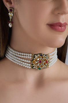 Buy Bead Choker Set by Posh by Rathore at Aza Fashions Pearl Necklace Designs, Jewelry Design Earrings, Gold Earrings Designs, Gold Jewellery Design, Earings Gold, Jewelry Necklaces, Gold Jewelry Simple, Stylish Jewelry, Fashion Jewelry