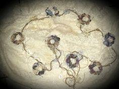 Vintage Shabby Flower Garland (purples/neutrals)