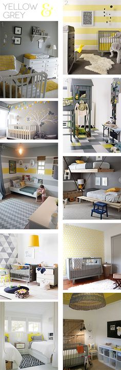 Ideas & Inspiration: Grey and yellow colour combo for kids rooms. Want to go this route if the kid's end up having to share a room.