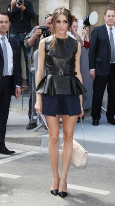 Olivia Palermo Dress Shorts - Olivia looked classy at the Dior Couture show in Paris wearing these crisp blue shorts and leather top.