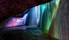 Behind a frozen waterfall. Minnehaha Falls in Minneapolis, Minnesota.