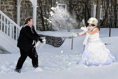 "Fun idea: Host a ""trash the dress"" shoot in the snow!"