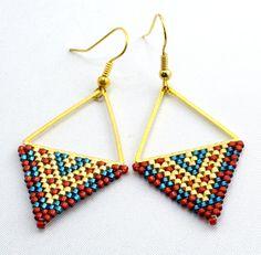 Earrings BeadworkGold Triangle Earrings Geometric Earrings