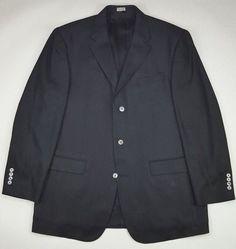 Bachrach Silk Blazer 44L Black Herringbone Mens Size Three Button Lined Long Sz  #Bachrach #ThreeButton