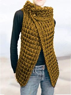 Type:SleevelessMaterial:Cotton-blendNeckline:Cowl Chart Size Bust cm inch M 105 L 110 XL 115 XXL 120 12 Sweater Shop, Tunic Sweater, Cotton Sweater, Blue Yellow Grey, Brown And Grey, Poncho, Crochet Clothes, Types Of Sleeves, Knit Crochet