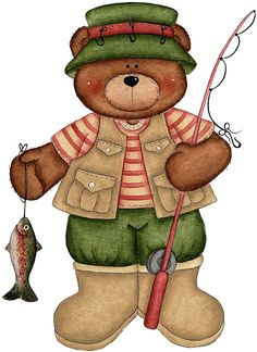 cartoon bear in fishing clothes