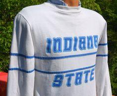 vintage 80s sweatshirt INDIANA state university isu sycamores terre haute Small stripe by skippyhaha