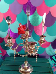 Dinglehopper. Ariel themed party. The little mermaid themed party decorations. The little mermaid centerpieces. Candelabra