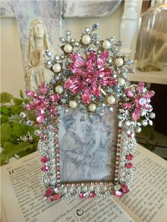 Rectangle Bejeweled Pink Frame  From The Collection  By Debbie Del Rosario-Weiss, Juliana,brush, comb, vintage, Clock,tray, mirror, perfume, antique, vintage, victorian, Sparkle, Eisenberg, Judy Lee,