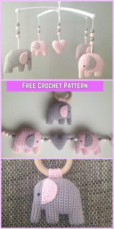 Crochet Elephant Mobile Amigurumi Free Pattern