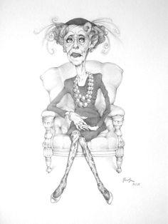 Bette Davis Caricature by Juan Albuerne at My Celebrity Caricatures