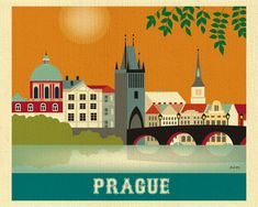 Prague Skyline Print Prague Art Czech Republic Wall by LoosePetals