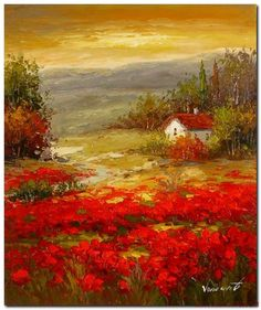 Tuscany_Sunset_Red_Poppy_Field_Home_Oil_Painting.jpg 690×823 pixels