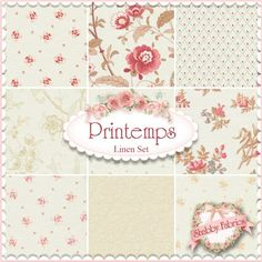 """Printemps  9 FQ Set - Linen By 3 Sisters For Moda Fabrics: Printemps is a collection by 3 Sisters for Moda Fabrics.  100% cotton.  This set contains 9 fat quarters, each measuring approximately 18"""" x 21""""."""