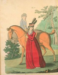 Horse riding. Notice the accompanying groom in a paler wash in the background. Heideloff's Gallery of Fashion, June 1795.