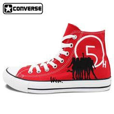 (106.25$)  Know more  - Red Sneakers Women Men Converse All Star Boys Girls Shoes Fifth Harmony Design Custom Hand Painted Shoes Canvas Sneakers Gifts