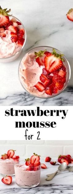 Strawberry mousse for two: small batch strawberry mousse made with fresh strawberries. Dessert for two. Fruit desserts for summer. Strawberry desserts. Easy strawberry desserts.