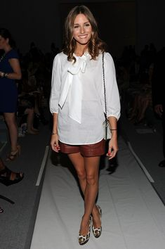 Olivia Palermo Photo - Tibi - Front Row - Spring 2012 Mercedes-Benz Fashion Week - Hair - Leather Shorts