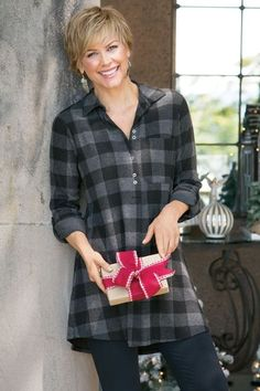 Mad About Plaid Tunic  Classic menswear buffalo plaid in super-soft jersey knit makes the perfect take-it-easy tunic, with a partial button closure, long roll-tab sleeves and
