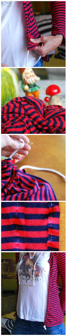 How to turn a tshirt into a cardigan! Tshirt remake deconstruction reconstruction  sewing DIY idea. Red striped drawstring Cardy.     Find out how! http://californiapixie.com/2012/08/01/a-lucky-tshirt-gets-free-diy-cardigan-enhancement/