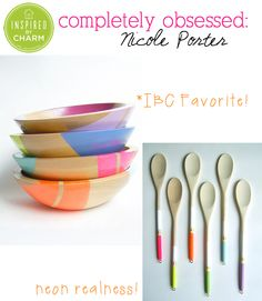Gorgeous tableware creations from the fabulous Nicole Porter! Love the pops of neon. Visit Inspired by Charm for more info and coupon code! #completelyobsessed