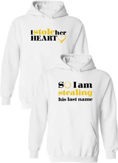 I Stole Her Heart So I Am Stealing His Last Name Cotton Jersey / Couples Apparel / Couples Jerseys / Wedding / Couples Apparel has the best matching apparel for you and your significant other! Cute Couple Hoodies, Matching Hoodies For Couples, Couple Tshirts, Couple Clothes, Couple Stuff, His And Hers Hoodies, Matching Couple Outfits, Bff, Boyfriend Shirt