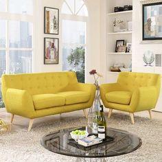Modway Remark Mid Century Living Room Sofa Set (Sunny), Beige Off-White Modern Furniture Sets, Contemporary Living Room Furniture, Living Tv, Living Room Sets, Cozy Living, Small Living, Yellow Sofa, Sofa Set, All Modern