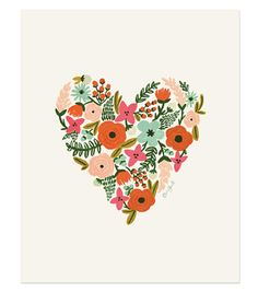 "Floral Heart Print  8""x10"" illustrated art print created from an original illustration by Anna Bond. Each print is archival printed on natural white cover paper.  - 8""x10"" or 5""x7"" print   - printed on natural white cover paper  - Ships flat in a protective sleeve"