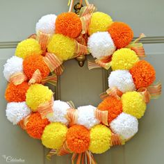 candy corn pompom wreath