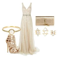 """Gold"" by trendyysoul1 ❤ liked on Polyvore featuring Jovani, Irene Neuwirth, Steve Madden, Charlotte Russe, Yves Saint Laurent, women's clothing, women, female, woman and misses"