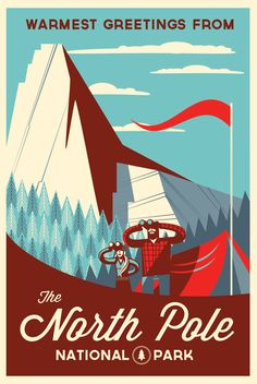The North Pole can be defined as the point in the Northern Hemisphere where the Earth's axis of rotation meets its surface. The North Pole is the northernmost point on the Earth, lying diametrically opposite the South Pole. National Park Posters, National Parks, Wallpaper Cars, Retro Vintage, Modern Retro, Snow Artist, Postcard Design, Travel Design, Cool Posters