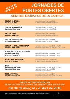 Cartell portes obertes 2016 escoles #laGarriga