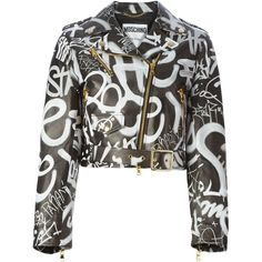 Moschino Graffiti Print Biker Jacket ($4,995) ❤ liked on Polyvore featuring outerwear, jackets, black, biker jacket, cropped moto jacket, long sleeve crop jacket, black biker jacket and black moto jacket