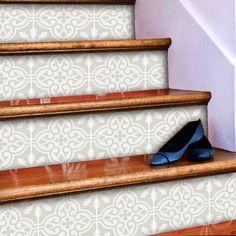 Stair Riser Stickers - Removable Stair Riser Tile Decals - Floc Pack of 6 in Silver Birch - Peel & Stick Stair Riser Deco Strips - long Vinyl Wallpaper, Pvc Vinyl, Adhesive Vinyl, Op Art, Stairs Edge, Melamine Cabinets, Stair Stickers, Floor Stickers, New Surface
