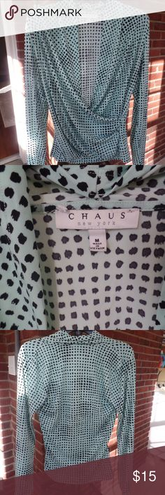 Faux wrap blouse CHAUS faux wrap blouse.  Only wore this twice..blouse is in perfect condition chaus Tops Blouses