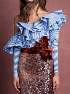 One Shoulder Ruffles Blouse Shirt Women Tops 2017 Summer Ladies Casual Blue Striped Shirt Long Sleeve Slash Neck Fashion Blusas Fashion Details, Look Fashion, New Fashion, High Fashion, Fashion Design, Fashion Styles, Fashion Women, Holiday Fashion, Denim Fashion